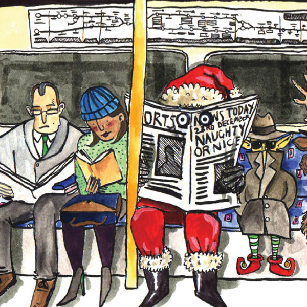 A close up of Santa and an elf in disguise on the London Underground. Santa hiding behind a news paper and the elf in a big trench coat.