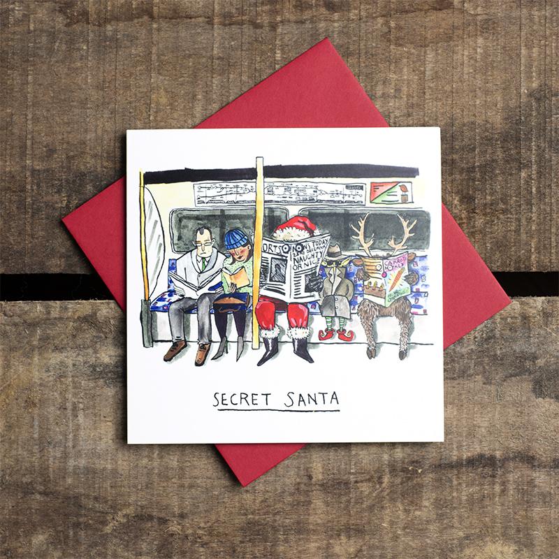 Secret-Santa_-Secret-Santa-Christmas-card-pun.-London-underground-Christmas-card_CH05_FLC