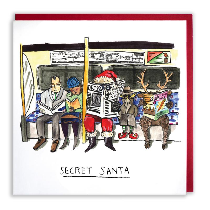 Secret-Santa_-Secret-Santa-Christmas-card-pun.-London-underground-Christmas-card_CH05_WB