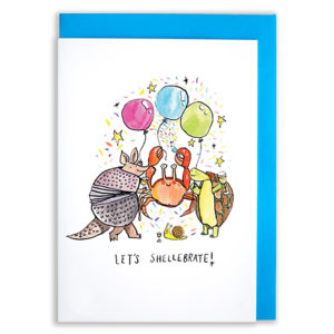 A card with a blue envelope tucked inside. A crab, an armadillo, a snail and a turtle are celebrating at a party with balloons. The text reads 'Let's Shellebrate'