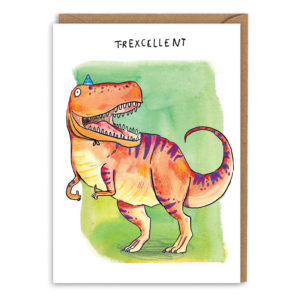 Card with brown envelope. A green watercolour background. An orange t-rex with purple stripes is smiling and giving a thumbs up, he wears a blue party hat. Text above reads 'T-rexcellent'.