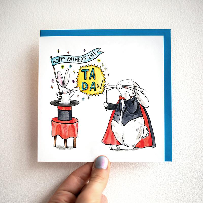 Ta-Da-Magic_-Fathers-Day-card-with-magic-theme-and-rabbit-base-down_FD15_THB