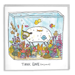 A card with a grey envelope tucked inside. A sheep inside a fish tank wearing a yellow snorkel. Text below reads 'Tank Ewe', then in smaller text '(very much)'.