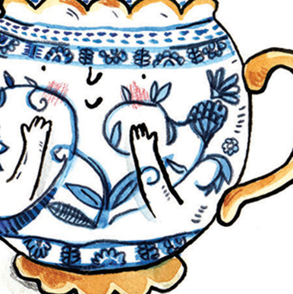 Close up of a white tea pot with intricate blue patterns.The base and handle of the tea pot are gold. The tea pot has a smiling face and small arms with its hands pressed to its cheeks.