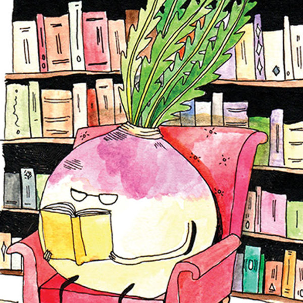 A turnip wearing glasses is in an armchair surrounded books, he is reading a yellow one.
