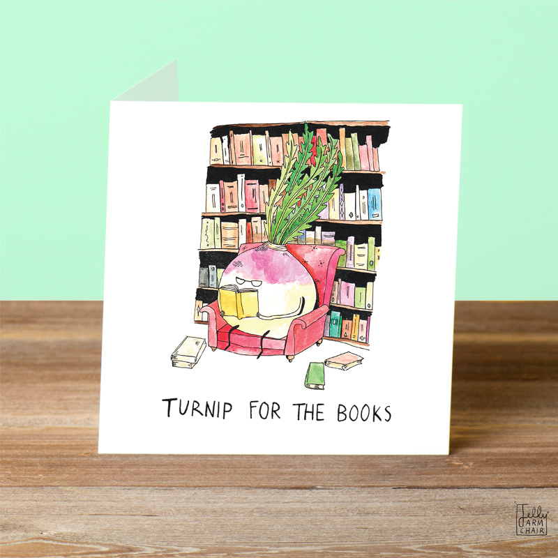 Turnip-For-The-Books_Book-greetings-card-with-turnip-based-up.-Funn-y-greetings-card_SL04_OT