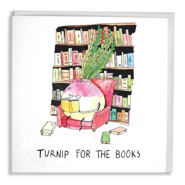 A turnip wearing glasses is in an armchair surrounded books, he is reading a yellow one. Text: 'Turnip for the books'.