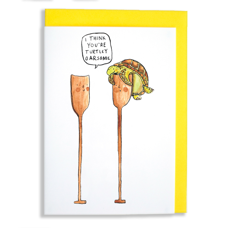 Turtley-Oarsome_Fun-greeting-card-for-rowers-and-nature-lovers.-Greeting-card-with-turtle-pun_IT13_WB