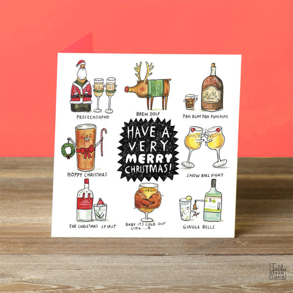 A black spiky shape with white writing; 'Have a very MERRY christmas!'. Surrounding this are eight boozey puns.