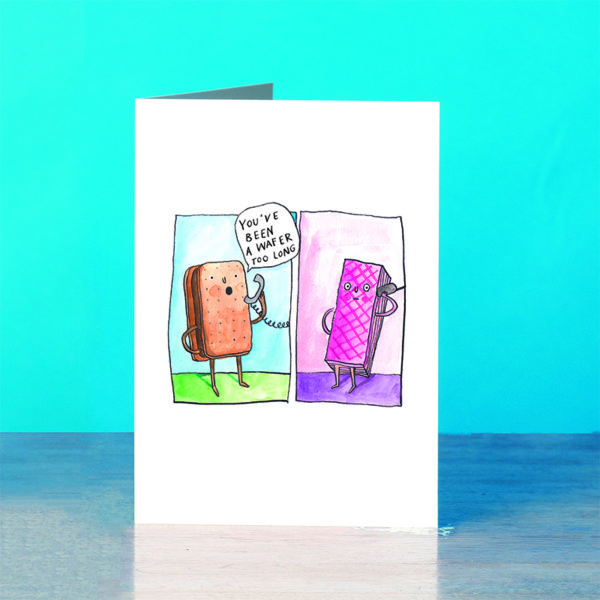 A blue background and a grey wooden table. Two panels, right has a bourbon biscuit on a blue and green background, the biscuit is on the phone and is saying 'You've been a wafer too long'. Right panel: A pink wafer on a pale pink and purple background, also on the phone looking a bit bemused!
