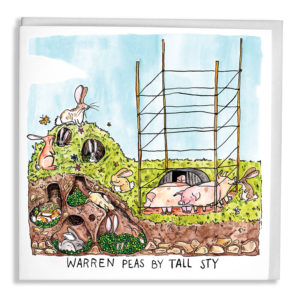 Some pigs in a sty with tall fences, rabbits are next to them filling their burrow with peas! Text reads 'Warren Peas by Tall Sty'.