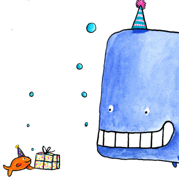A little goldfish offering a smily whale a birthday present.