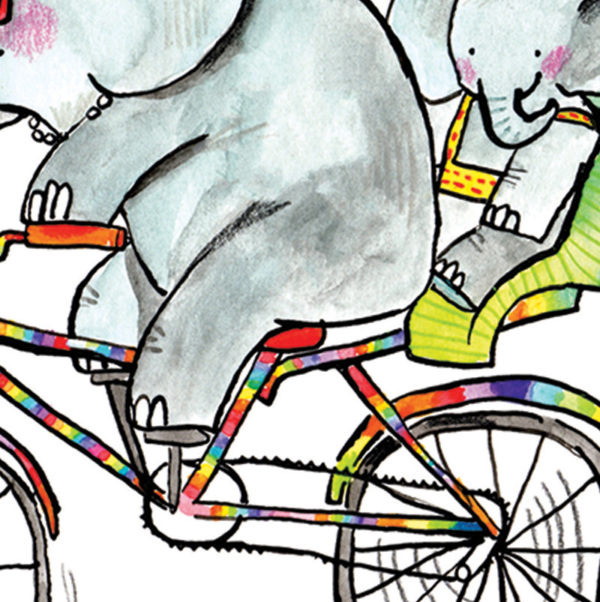 A close up of an elephant riding a rainbow coloured bike. A baby elephant is in a green child's seat behind the big elephant.