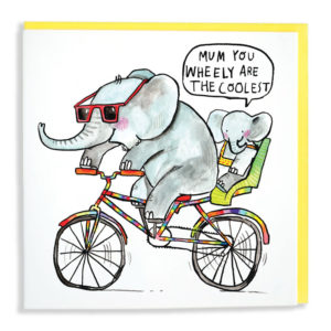 An elephant wearing red sunglasses is riding a rainbow coloured bicycle, in a baby seat at the back is a little elephant. The baby elephant is saying 'Mum you wheely are the coolest'.