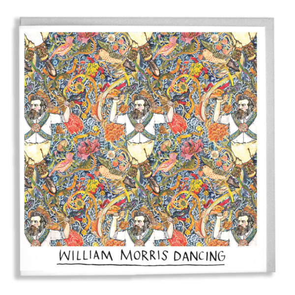 The repeating William Morris pattern 'Strawberry Thief', with a bearded Morris man dancing in the foreground. Text below reads 'William Morris Dancing'.