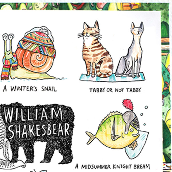 A black bear with a white ruff, inside it says 'William Shakesbear'. This is surrounded by Shakespeare animal puns.