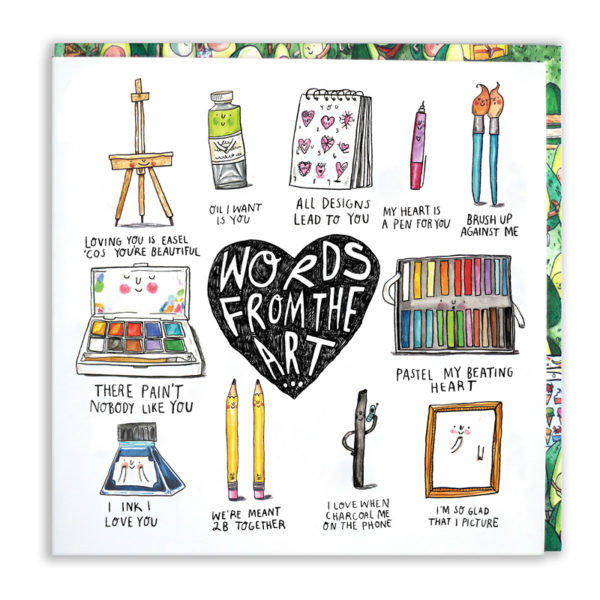 A black heart with 'Words from the art inside', around this is 11 paint and art themed puns.