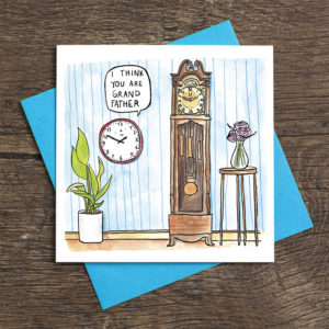 A room with blue wall paper, a house plant and a little round clock on the wall. This clock is saying to a large and ornate grandfather clock 'I think you are grand father'.