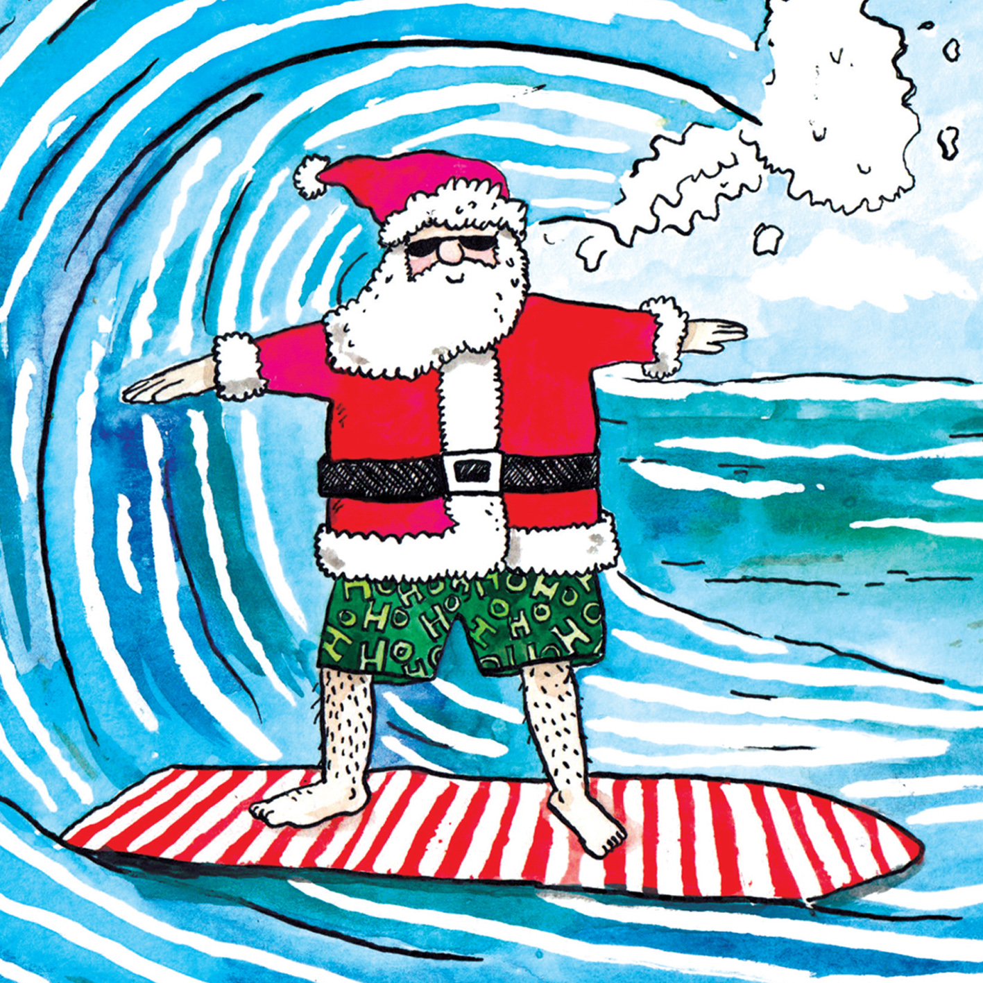 Yule-Tide-Surfing_Surfing-Santa-Christmas-card.-Beach-themed-Christmas-card_CH19_CU