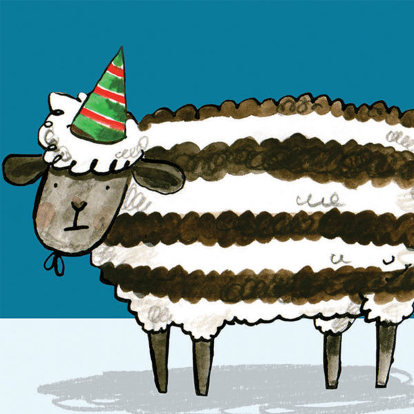 A close up of a black and white striped sheep wearing a green and red striped party hat.