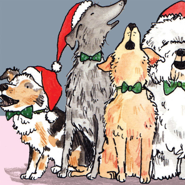 A close up of a choir of four howling dogs all wearing green bow ties and Santa hats.
