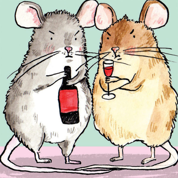 Two mice stood looking cross. The mouse on the left is holding a wine bottle the mouse on the right is holing a glass of red wine.