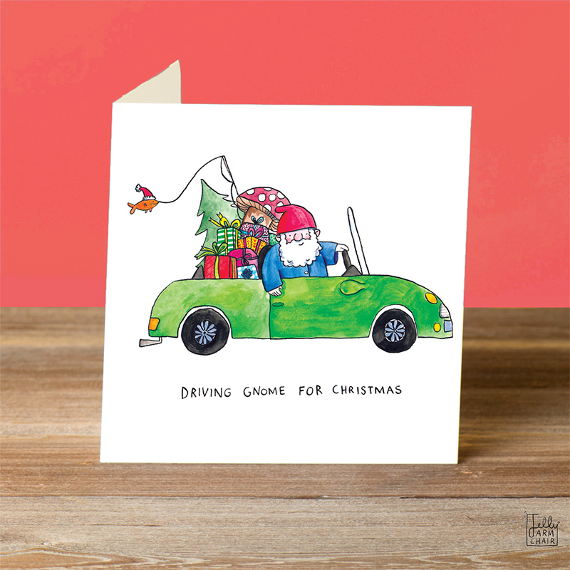 Driving-Gnome_-Driving-home-for-Christmas-pun-Christmas-card_CH14_OT