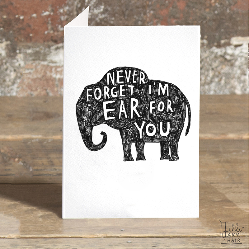 Ear-For-You-ELE_-Elephant-pun-greetings-card-for-condolences-or-letter-writing-to-friends_-BW20_OT