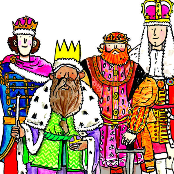 Close up of four kings in various coloured robes are all standing together.