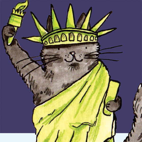 A close up of a black cat dressed as the Statue of Liberty