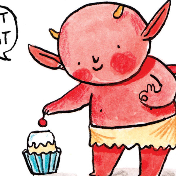 A little red imp with orange horns putting a cherry on the top of a cupcake in a blue case.
