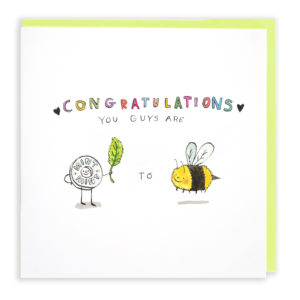 A card with a green envelope tucked inside. The text at the top of the card reads 'Congratulations you guys are' Beneath this is a mint holding a mint leaf and a bumble bee. Between the mint and the bee is the word 'to'