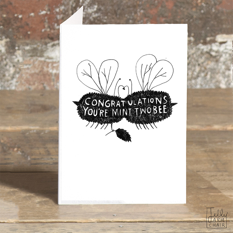 Mint-Two-Bee_.Engagement-greetings-card-with-bee-pun-for-the-happy-couple_BW25_OT