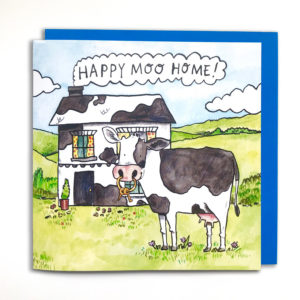 A black and white cow is stood on a green, rolling landscape. The ring on the cows nose has some keys attatched to it. There is a black and white house behind the cow. In the chimmney smoke is the writing 'Happy moo home!'.