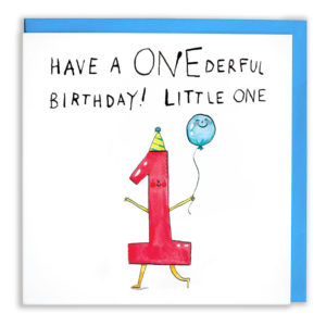 A card with a blue envelope tucked inside. On the card a red one with a party hat is smiling and holding a blue balloon. Text above the one reads 'Have a Onederful Birthday! Little One'