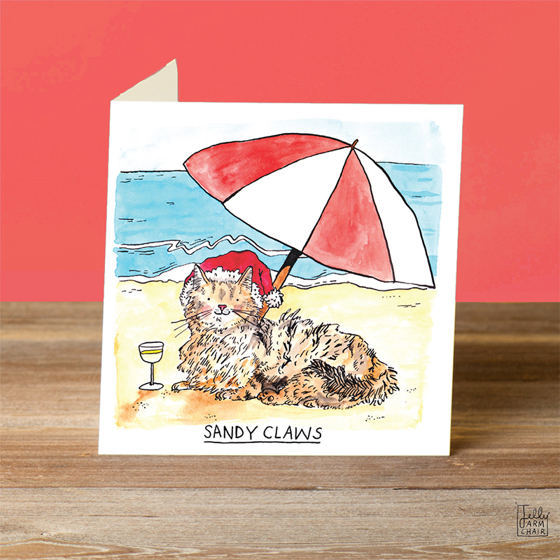 Sandy-Claws_Beach-themed-Christmas-card-with-cat-puns.-Christmas-cards-for-cat-owners_CH03_OT