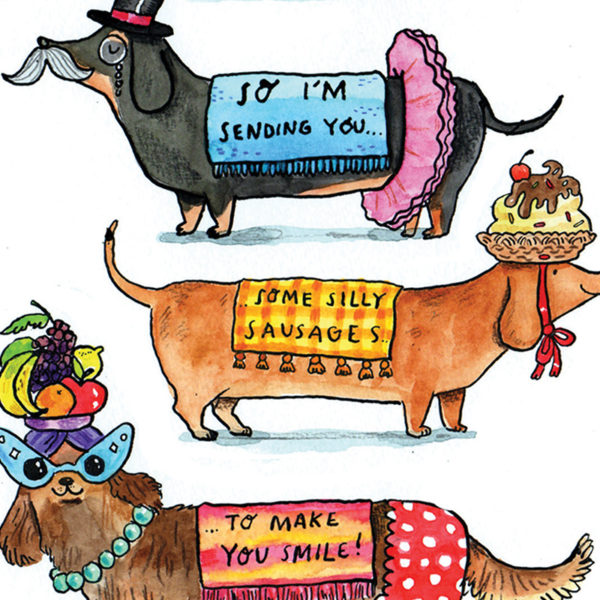 A close up of the there sausage dogs in fancy dress. The text reads 'So I'm sending you some silly causes to make you smile.'
