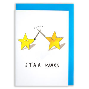 A card with a blue envelope tucked inside. Two stars are duelling, their swords are clashing and going *zing*. The stars have smiley faces and red cheeks. Text reads 'Star Wars'.