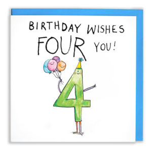 Text above: 'Birthday wishes FOUr you!'. A green 4 is holding a bunch of colourful balloons and giving a thumbs up.