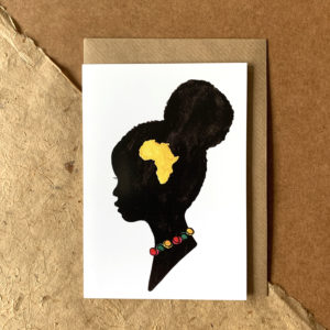 A silhouette of an African girl. Inside the silhouette is a yellow water colour of Africa.