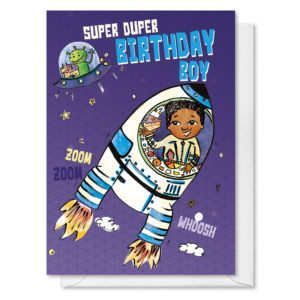 A boy in a rocket in space. 'Text reads super duper birthday boy'