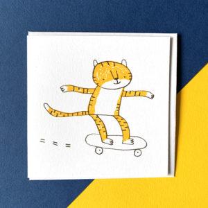 A skate boarding tiger