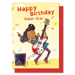 A girl playing a guitar text reads 'Happy Birthday Super Star""