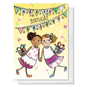 Two girls holding hand both holding gifts. text reads 'Happy Birthday Friend'