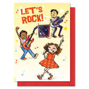 two boys playing guitars and a girl singing. Text reads 'Let's Rock'
