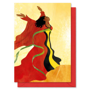 Lady in traditional robe in the wind