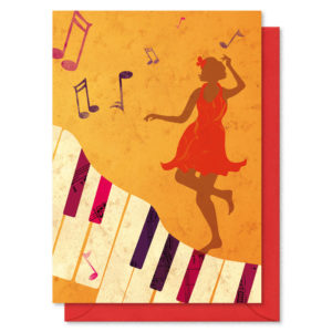 A woman in a red dress dancing on top of piano keys