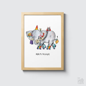 A5 Art Print featuring an elephant on roller skates with the caption multi-tusker